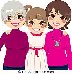 generation, tre, familie, kvinder