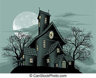 genfærd, hus, scene, creepy, haunted, illustration