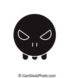 genfærd, lejlighed, begreb, illustration, tegn, vektor, sort, icon., emoji