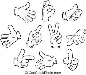 gestuser, sæt, cartoon, hånd