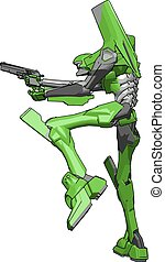 geværet, illustration, robot, baggrund., vektor, grønnes hvide