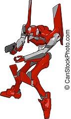 geværet, illustration, robot, baggrund., vektor, hvid rød