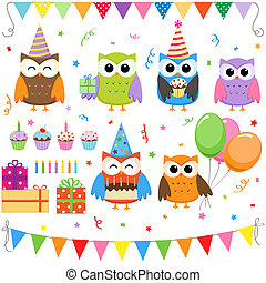 gilde, fødselsdag, sæt, ugler