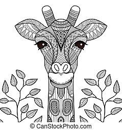 giraff, coloring, side