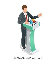 give, orator, konference, firma, vektor, setting., eller, illustration., mand træffes, præsentation, tal, tribune