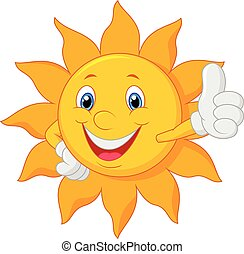 give, sol, tommelfinger, cartoon, oppe