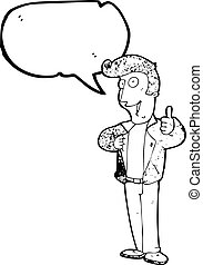 give, symbol, oppe, tommelfingre, guy, cartoon, køle