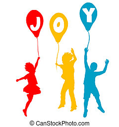 glæde, meddelelse, balloner, børn, holde
