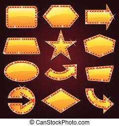 glødende, brightly, biograf, tegn, gylden, retro, neon
