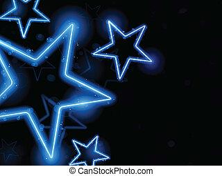 glødende, neon, stjerner, baggrund