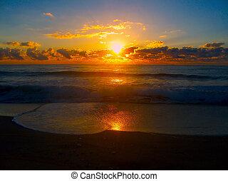 glødende, solopgang
