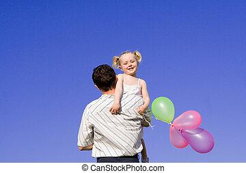 glad familie, far, barn