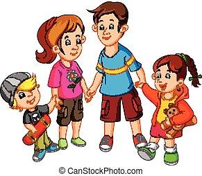 glad familie, hånd ind hånd
