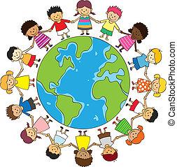 glade, børn hånd ind hånd