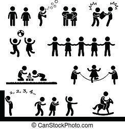 glade, børn spille, pictogram