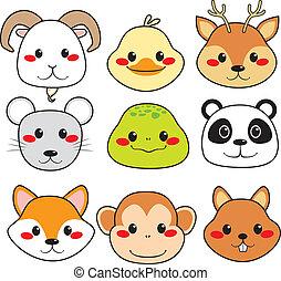 glade, dyr, ansigter