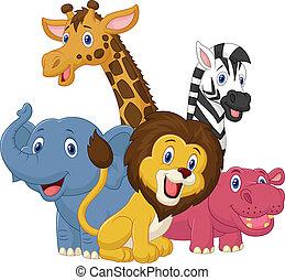 glade, dyr, safari, cartoon