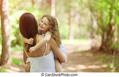 glade, gå, barn, udendørs, mor