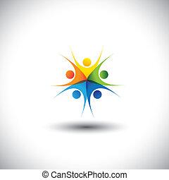 glade, graphic., samfund, samvær, børn, sammenkomster, -, også, harmoni, ophids, venskab, farverig, illustration, enhed, retskaffenhed, det gengi'r, børn, denne, sammen, spille, tillid, vektor, eller