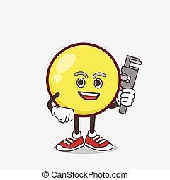 glade, mascot, emoticon, blikkenslager, cartoon, gul, karakter