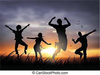 glade, springe, folk