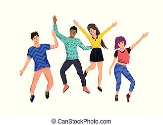 glade, springe, gruppe, unge mennesker