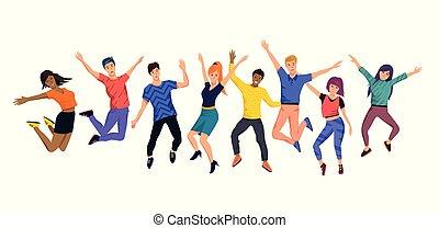 glade, springe, unge, samling, folk