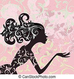 glans, hår, pige, ornamentere