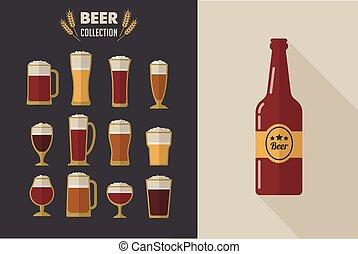glas, samling, øl, vektor, lejlighed