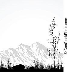 glas, træ., bjerge, landskab