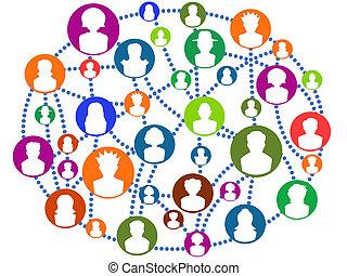 globale, forbinde, netværk, folk