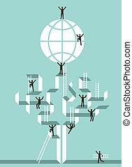 globale, held, stairway, firma