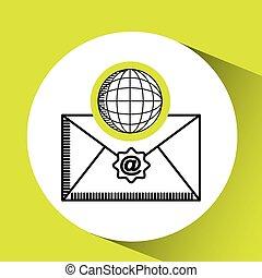 globale, verden, meddelelse, begreb, email