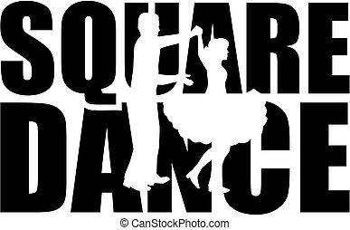 glose, dans, cutout, firkantet