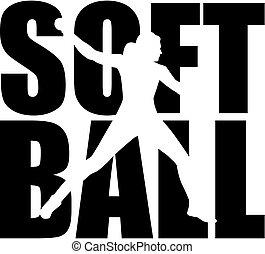 glose, silhuet, softball, cutout