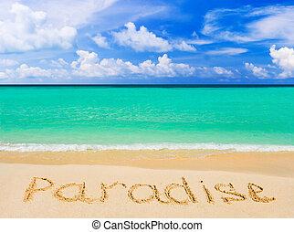 glose, strand, paradis