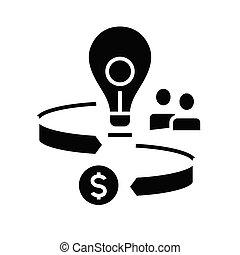 glyph, fortjeneste, ikon, sort, illustration, vektor, lejlighed, symbol, begreb, tegn., vej