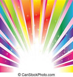 gnistr, stjerner, farverig, baggrund, briste
