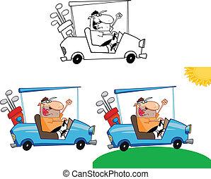 golfer, cart, sæt, samling, golf