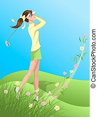 golfer, kvinde, blomst, svinge, ydre