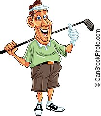 golfer, vektor, cartoon, mand
