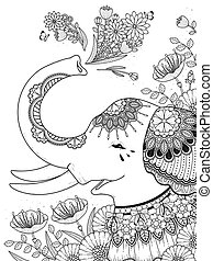 gorgeous, coloring, side, elefant