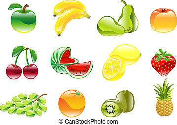 gorgeous, sæt, skinnende, frugt, ikon
