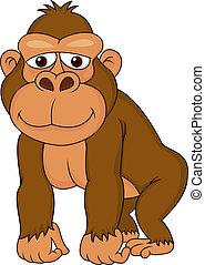 gorilla, cartoon, cute