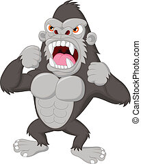 gorilla, cartoon, vrede, karakter