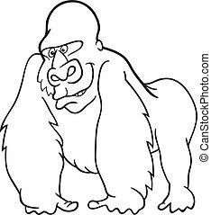 gorilla, coloring bog