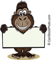 gorilla, holde, tegn