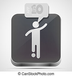gråne, eps10, app, fodbold, vektor, ikon, boble, speech.
