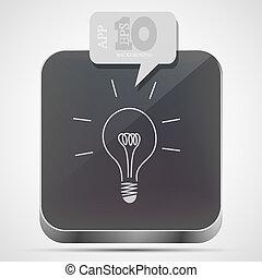 gråne, eps10, app, ide, vektor, ikon, boble, speech.