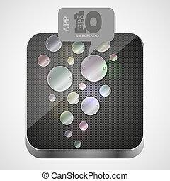 gråne, eps10, app, metal, vektor, ikon, boble, speech.